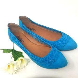 LUCKY BRAND TURQUOISE SUEDE LEATHER FLATS.